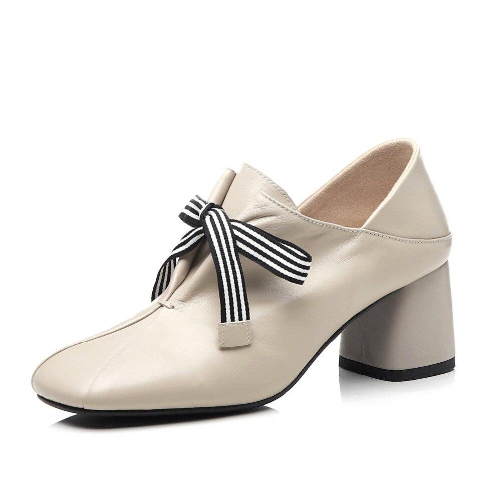 Chaussures Dentelle Épais Naturel Haute Grande Cuir Superstars Taille Robe Pompes 2019 Costume Rayé En Up Bout L8f1 Carré Originale Talons Conception 54ALqcR3j
