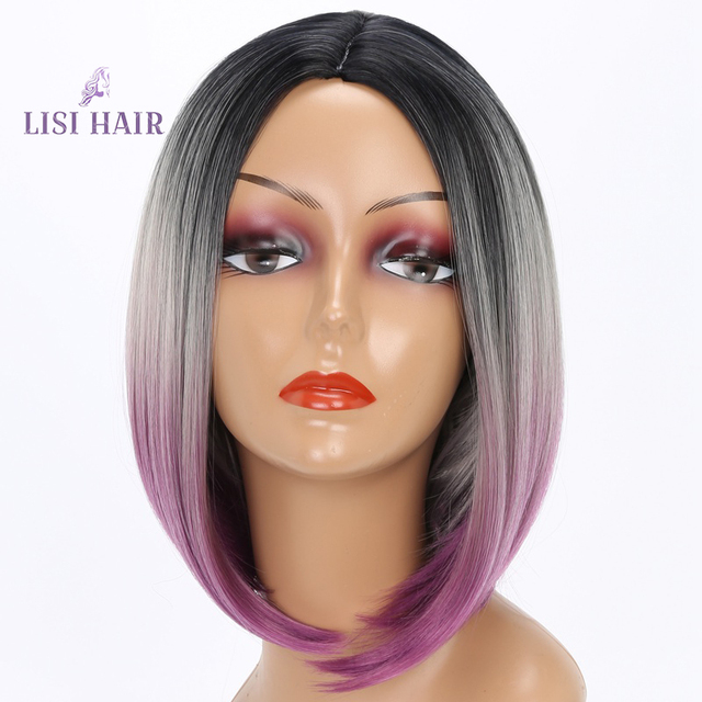 Us 11 92 48 Off Lisi Hair Short Wigs Synthetic Hair Wigs For Woman Black Bob Straight Hair Wig Gray Purple Ombre Heat Resistant 10 Inch In Synthetic