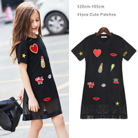 Girls Dress Fashion Love Kiss Appliques Short Sleeve Black Color Mesh Teenage Girls Dress Summer Children