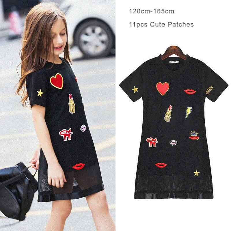 Girls Dress Fashion Love Kiss Appliques Short-sleeve Black Color Mesh Teenage Girls Dress Summer Children Dress 6-15 years old