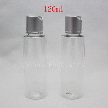 120ml Disc top cap plastic bottles containers for traveling ,pearl transparent empty plastic liquid PET bottles for cosmetics