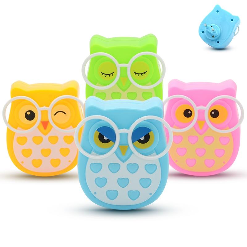 EU US Plug-in Animal Owl Led Nightlight Auto Lighting Control Sensor Lamp Child Kids Baby Bedroom Indoor 110V 220V Wall Light
