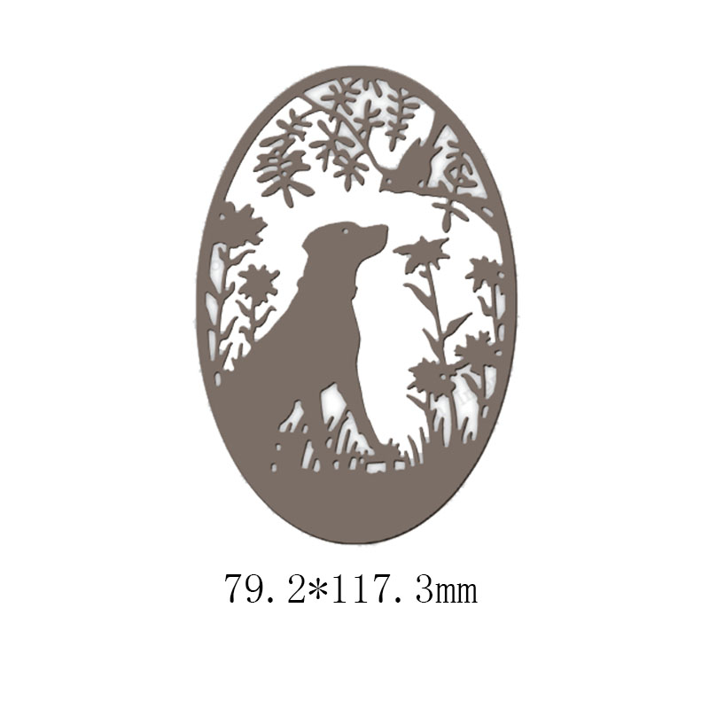 Oval Dog Silhouette Metal Cutting Dies for DIY Scrapbooking Embossing Album Paper Cards Making Crafts New 2019 Diecuts Supplies in Cutting Dies from Home Garden