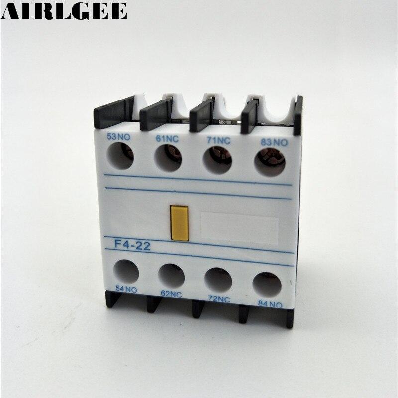 Conector de bloque de contacto auxiliar F4-22 2NO 2NC para Contactor TOCT1 2P 25A 220 V/230 V 50/60 HZ, carril Din hogar ac contactor Modular 2NO 2NC o 1NO 1NC
