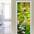 Garten Pfad Landschaft 3D Selbst adhesive Wasserdichte Tür Aufkleber Wandbild Aufkleber Wohnzimmer Schlafzimmer Tür Decor Abnehmbare Tapete-in Türaufkleber aus Heim und Garten bei