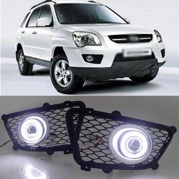 Ownsun Super COB Fog Light Angel Eye Bumper Projector Lens for Kia Sportage 2009-2010