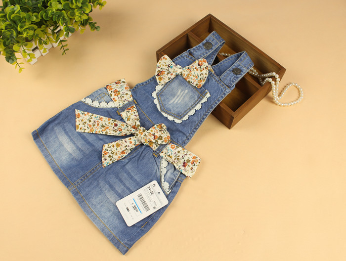 New Baby Girls Flower-bowknot Suspender Denim Sundress Girls Sleeveless Sundress Child Soft Denim Dress  Cotton Sundress 2017 new arrival baby girls denim sundress girls fashion sundress kids suspender denim dress child casual sundress