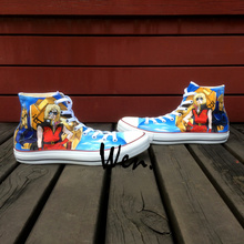 Wen Anime Hand Painted Shoes Design Custom Mobile Suit Gundam Men Women's High Top Canvas Sneakers for Presents