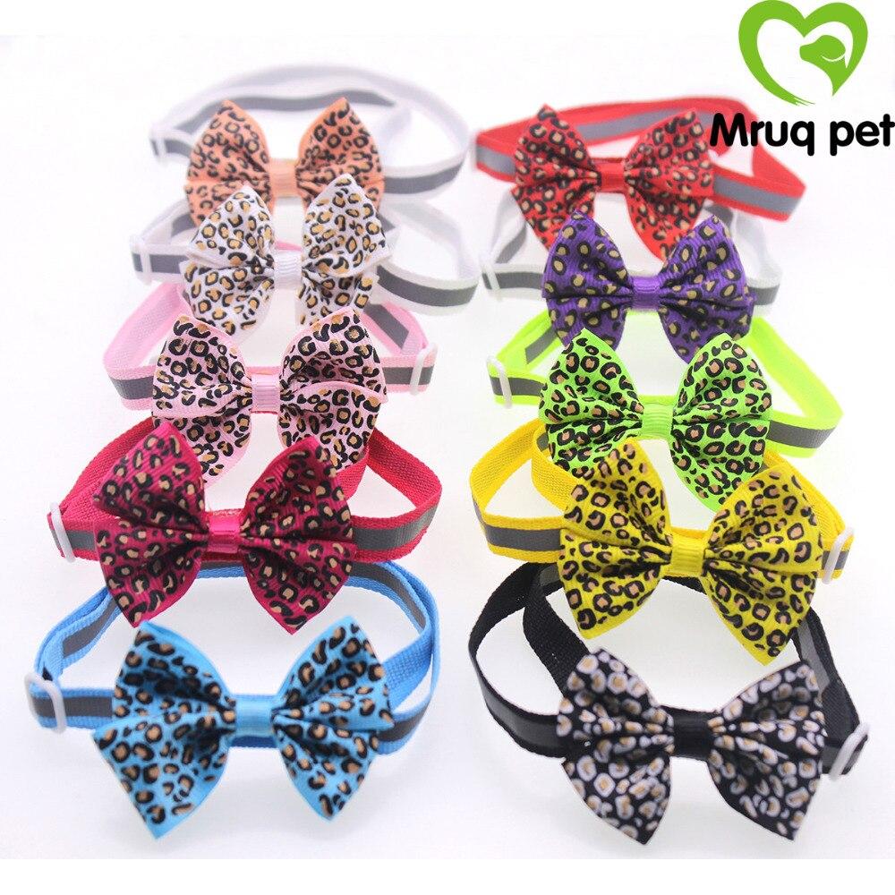 120pcs Pet Puppy Dog Cat Leopard Bowtie Bow Ties Adjustable Dog Collar Dog Accessories Pet Supplies