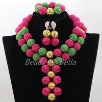 Latest Cheap Balls African Jewelry Sets Fuchsia Green Beads Sets Nigerian Wedding Beads Women Jewelry Set Free Shipping ABK610