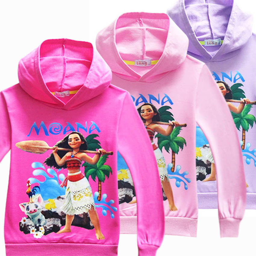 Children Cartoon T shirts Baby boy Maui hoodies Sweatshirts Kids Girls Moana vaiana Long ...