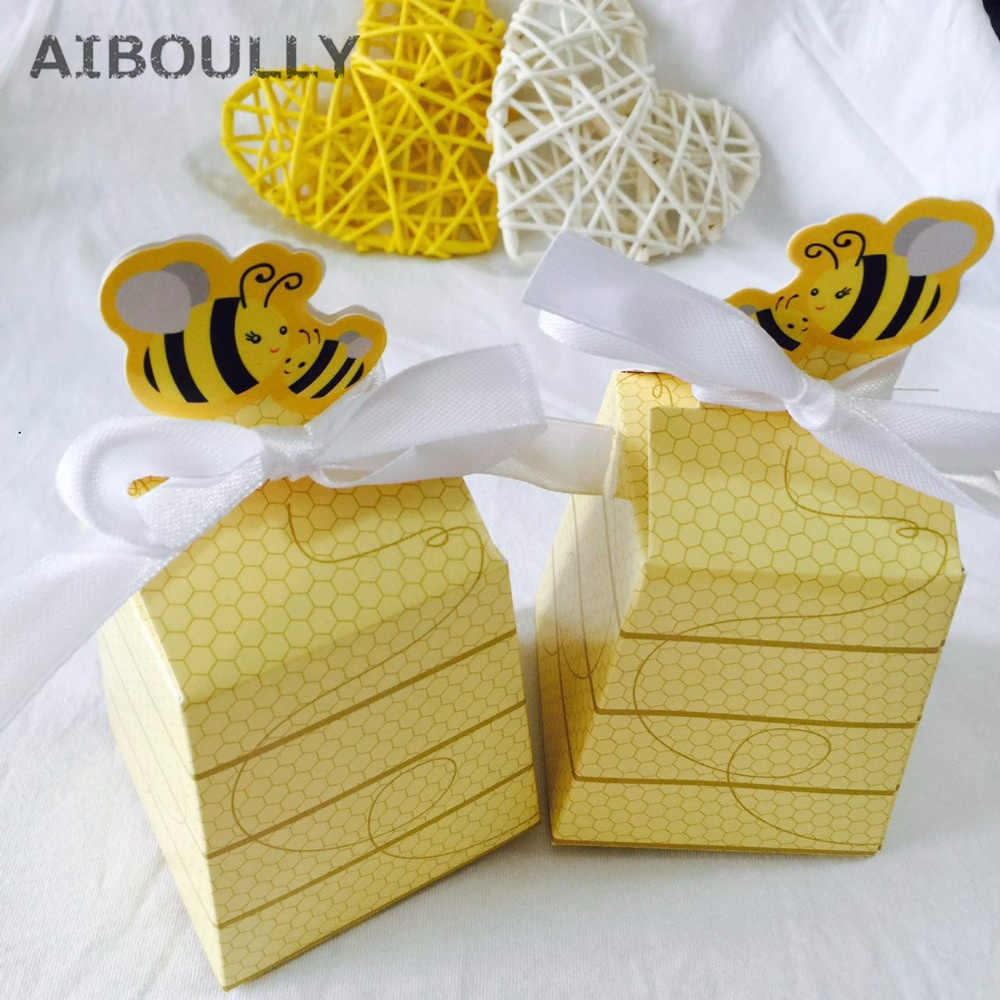 50pcs Lot Baby Shower Birthday Favors And Gifts Kids Party Yellow Bee Honey Favors Candy Boxes Gift Box With White Ribbons