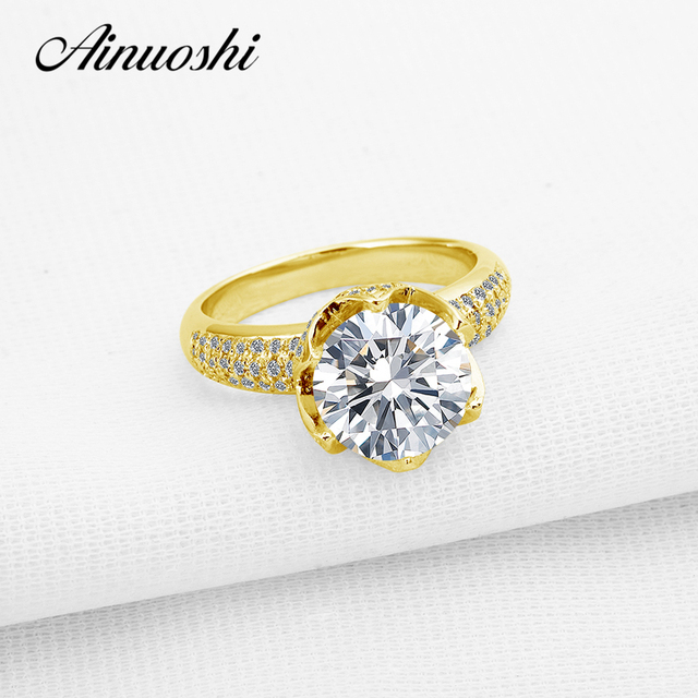 AINUOSHI 10K Yellow Gold Wedding Ring 3 Carat Lotus Design Super