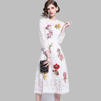 HAMALIEL Spring White Hollow Out Long Dress New Fashion Women Embroidery Floral Lace Lady 3D Dress Elegant Slim O Neck Vestidos