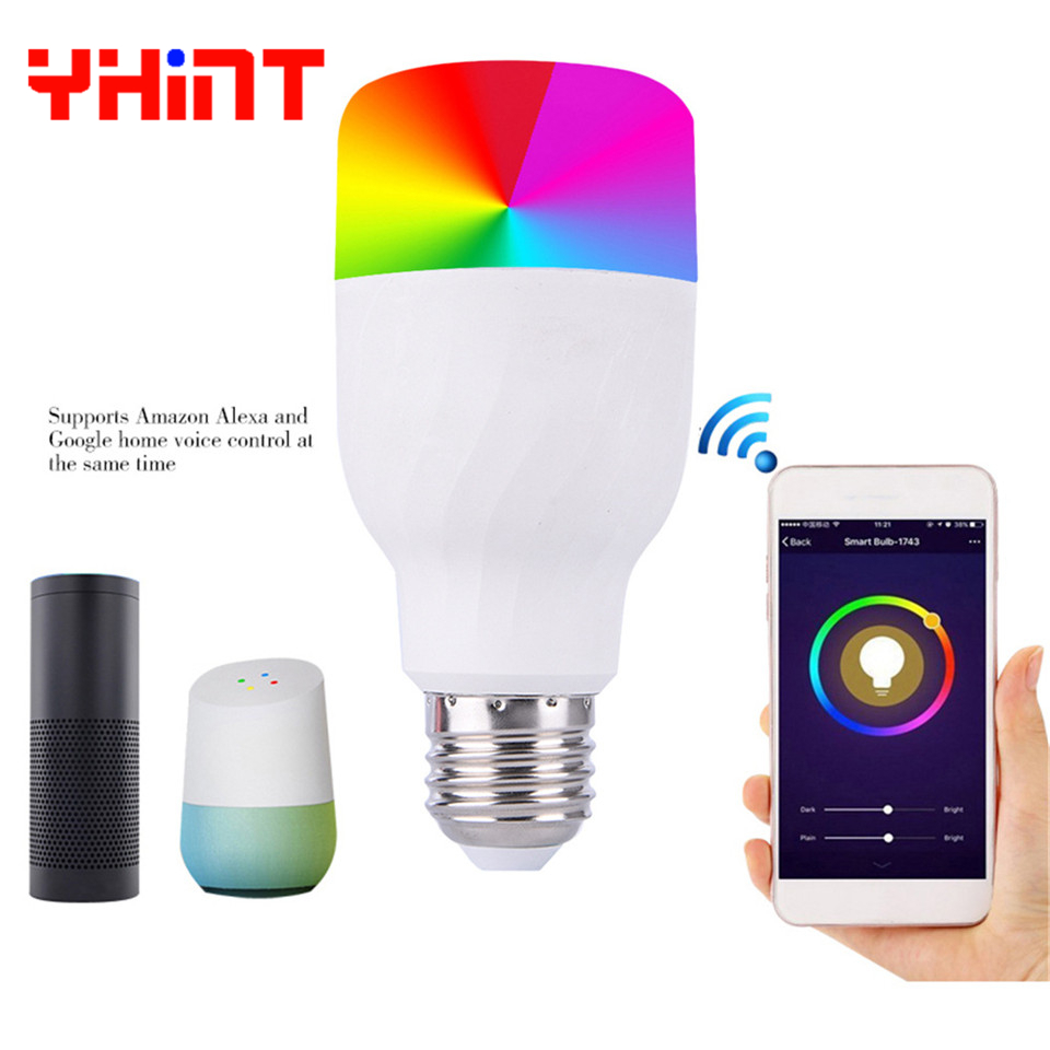 voice control smart rgbw 1600 million bulb work with alexa echol google home led lights E27 7w WIFI bulb for smarthome lighting in LED Bulbs Tubes from Lights Lighting