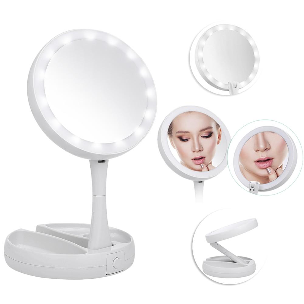 Make-up Spiegel 14 Leds Beleuchtete Doppelseitige Runde Rotation Folding Usb Touch Screen Tragbare Tabletop Lampe Kosmetik Spiegel Eitelkeit Spiegel Schminkspiegel
