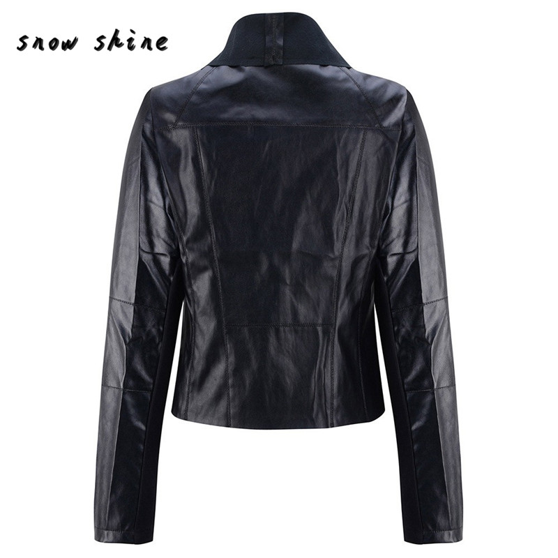 Woweile #5001 Women Punk Slim Biker Motorcycle Short Jacket Lapel Leather Coat Outwear For Women