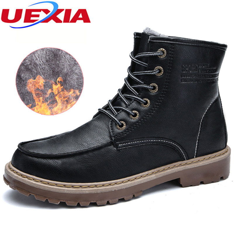 UEXIA New Warm Winter Shoes Men Casual Shoes With Fur Snow Boots Outdoor zapatos hombre Casual Shoes Men Luxury Fashion Footwear uexia women winter warm snow shoes casual flats increased shoes woman fur inside comfortable slip on botas zapatos mujer flock