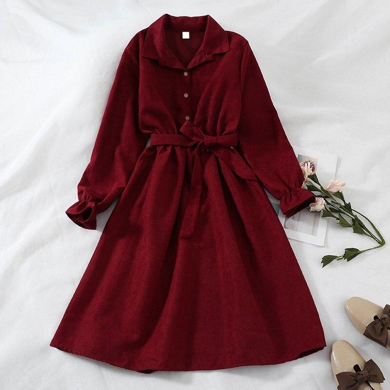 Mferlier Winter Dress Women Turn Down Collar Long Flare Sleeve Sashes High Waist Mori Girl 5 Solid Colors Vintage Shirt Dress