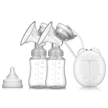 New Arrival Double Electric breast pump Powerful Nipple Suction USB Breast Pump with baby milk bottle Cold Heat Pad J11