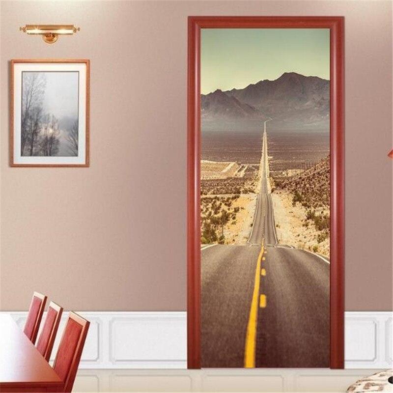 IDFIAF nouveau 3D désert autoroute ascenseur couloir décoration de la maison mur papier peint affiche livraison gratuite