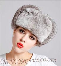 CX-C-26A Womens Gray Full Fur Rabbit Russian Aviator Hat