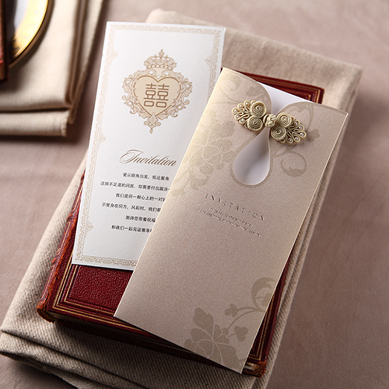 100 Pieces Lot Retro Chinese Style Wedding Invitation Card Cheongsam Button Engagement Invitations For Overseas CW2053 In Cards From