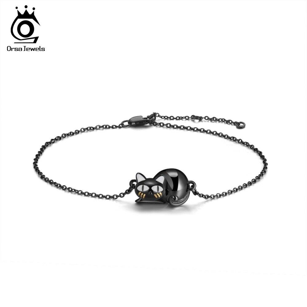ORSA JEWELS Authentic 100% 925 Sterling Silver Bracelets Women Black Gun Hollowed Kneeling Cat Original Female Party Gift SB31