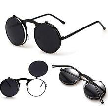 Vintage Steampunk Sunglasses Round Designer Steam Punk Metal Glasses Women Sunglasses Men Retro Circle Sun Glasses Oculos de sol