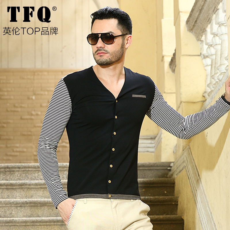 2015 Slim Type Fashion Cardigan Leisure Shirt Men's Long Sleeve Mens V Collar Cotton Small Dress - Luxury Watch Brands Of Clothing store