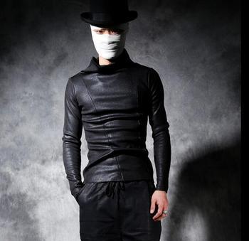 Slim basic turtleneck shirt mens 1 male personality punk plus velvet t shirt men thickening long-sleeve T-shirt men black