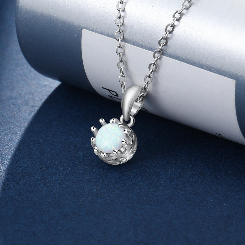 Elegant 925 Sterling Silver White Opal Necklace for Women Classic Flower Pendant Jewelry Fine Gift for Girls JewelOra NE103188 in Necklaces from Jewelry Accessories
