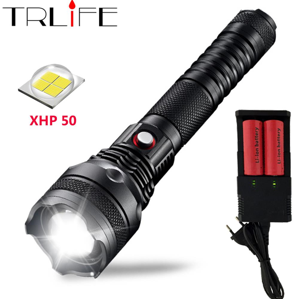 48000LM LED Flashlight Searchlight XHP50 Powerful Flashlights Flash Light Self-Defense LED Torch By 2*26650 Battery For Camping outdoor camping emergency light solar powered led flashlight self defense glare flashlight hammer torch light with power bank