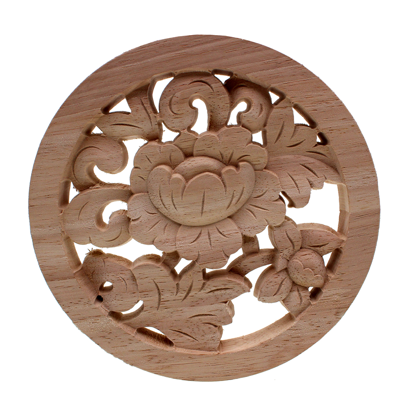 DIY Round European Woodcarving Decal Home Decorative Wood Appliques Carved Applique Window Door Decor Wooden Figurines Crafts Figurines & Miniatures     - title=