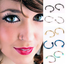 2pcs/Lot Fake Nose Ring Lip Ring C Clip Lip Piercing Nose Rings Hoop for Women Body Jewelry Earrings(China)