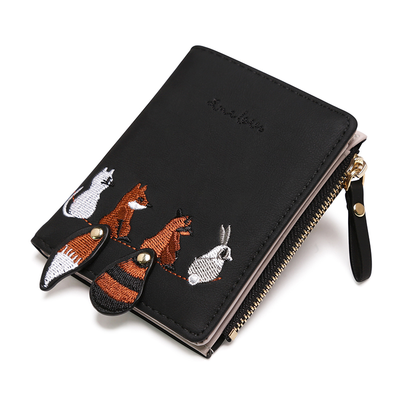 2018 Women PU Leather Wallet Female Small Coin Purse Cute Fox Rabbit Animal Print Short Wallets Pocket Femme Girls Portefeuille naivety drop shipping women cute coin purse pu leather cartoon rabbit printing short wallet animal monedero de la moneda 28s7626