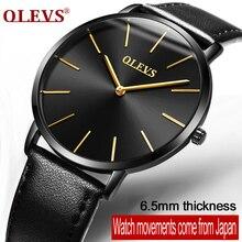 Olevs marca de luxo relógio de quartzo homens de negócios casual preto japão relógio de quartzo-relógio de couro genuíno ultra fino masculino novo