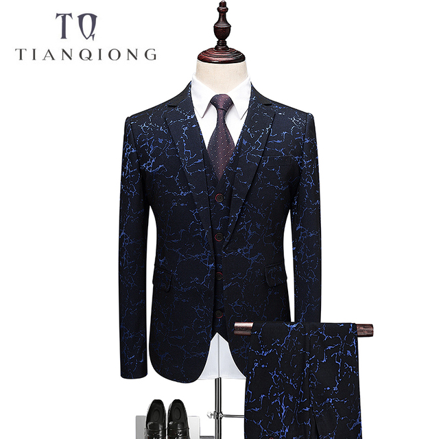 24b236d4a23 TIAN QIONG Men Suit 2018 Slim Fit Male Printed Suits Stylish Mens Suits  Wedding Groom Designer Prom Wear Brand Clothing QT346