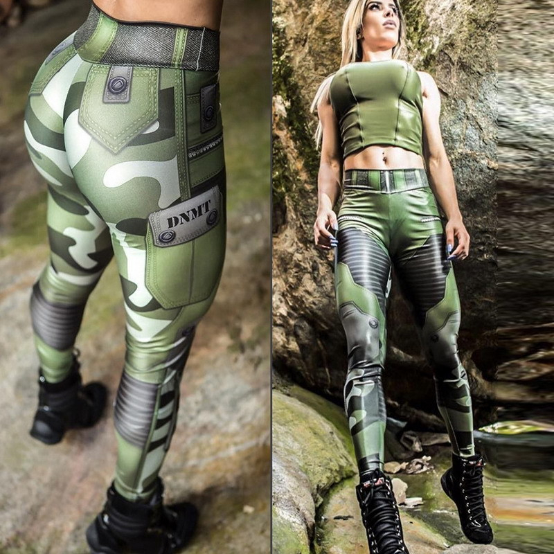 2019 Women Muscle Leggings Army Green Camouflage Printed Fitness Sporting Leggings Female Push Up Jeggings Femme Workout Pants