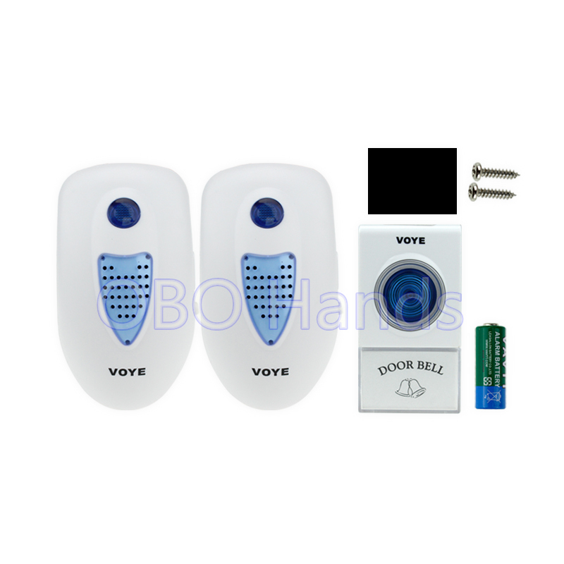 New arrival one to two wireless door bell with LED light+2 receivers+exit button, has 38 kinds of music for your choice-V003A2 2 receivers 60 buzzers wireless restaurant buzzer caller table call calling button waiter pager system