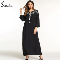 Siskakia Spring Summer 2018 Maxi long dress for womem white flower Embroidery muslim dress Black slim fit tunics lace up collar