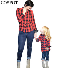 COSPOT Mom and Girls Red Plaid Christmas Shirt Mother and Daughter Cotton Matching Blouse Family Fashion