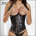 ladies sexy waist shaper corset XXL plus size black leather belt buckle shapewear slimming underbust clubwear lingerie bodysuit