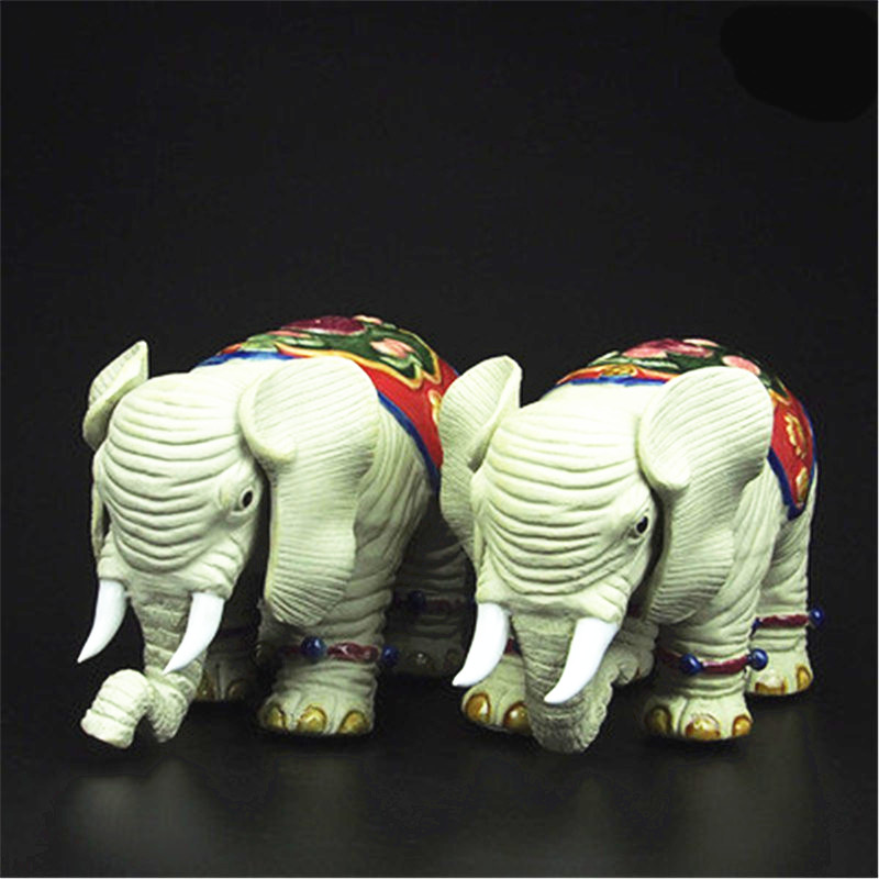 Simulation Animal Money Drawing Elephant Purely Manual Statue Colophony Crafts Living Room Decoration G1046