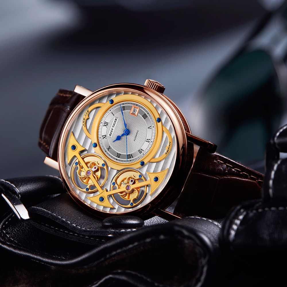 2019 nuevos relojes de moda de diseñador de tigre de arrecife de cuero genuino de lujo de oro rosa relojes automáticos RGA1995