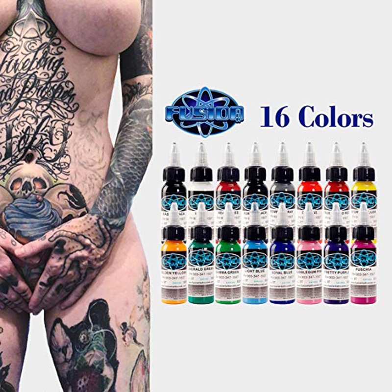 Tattoo Ink 16 Color Set 1oz 30ml/Bottle Permanent Makeup Pigment Kit Body Paint Color Tattoo Supply Beauty ToolsTattoo Ink 16 Color Set 1oz 30ml/Bottle Permanent Makeup Pigment Kit Body Paint Color Tattoo Supply Beauty Tools