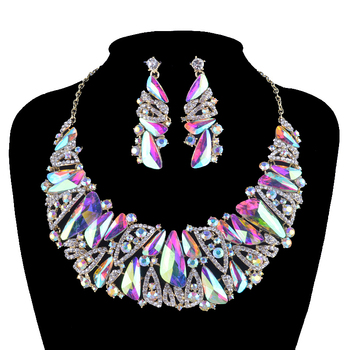 Aurora glass statement jewelry sets bridal Necklace earrings set rhinestone crystal AB  triangle shape for women's wedding party