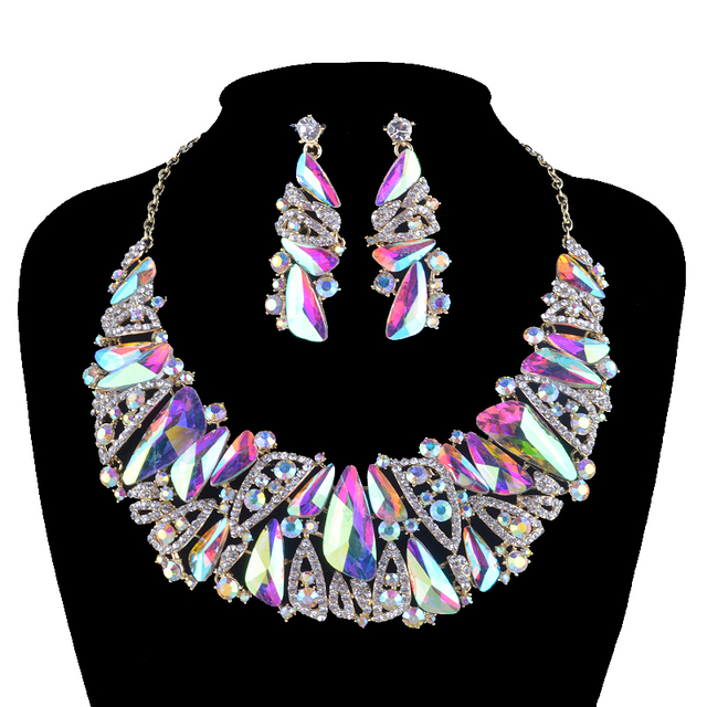 bcdc3f06a39d24 Aurora glass statement jewelry sets bridal Necklace earrings set rhinestone  crystal AB triangle shape for women wedding party
