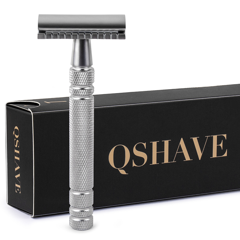 Qshave Men Manual Shaving Razor Classic Safety Razor Double Edge Blade Copper Handle With 5 Pcs Blades As Gift
