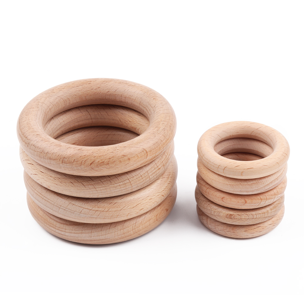 TYRY.HU 50Pcs 40/55/70mm Beech Wooden Rings Baby Teethers DIY Necklace Pendant Baby Rattle Accessories High Quality Shower Gifts